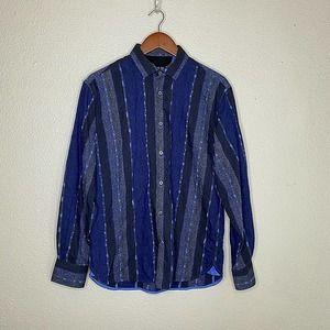 Luchiano Visconti Black Blue Paisley Striped Button Down Up Shirt Flip Cuff SZ M
